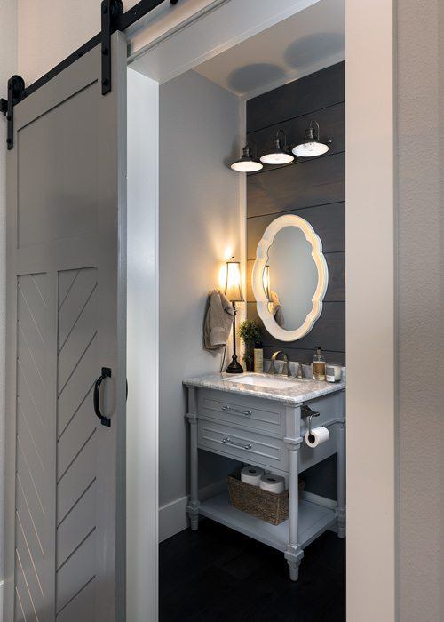 Powder bath with barn door