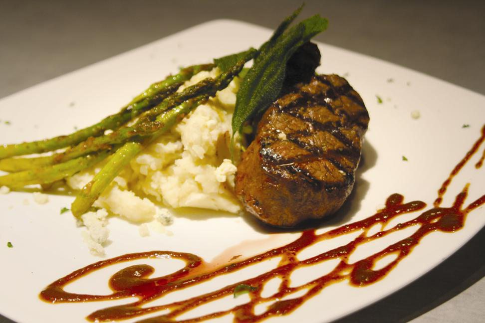 Specializing in dry-aged certified Angus steaks, Fire & Ice's menu changes seasonally.