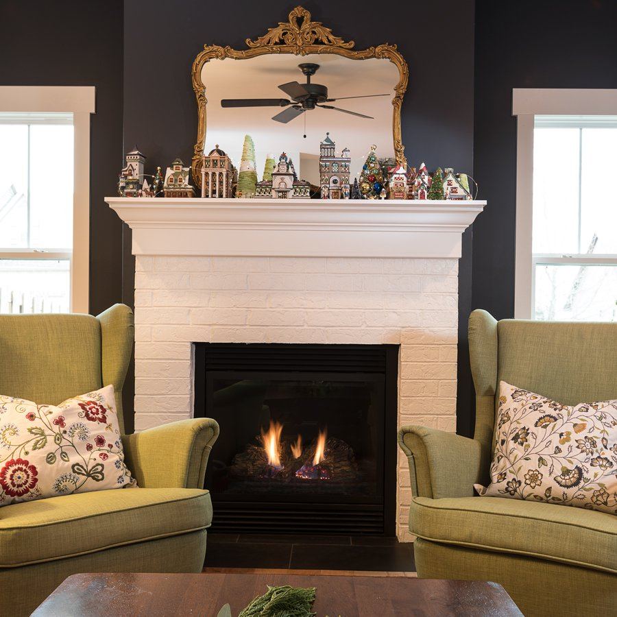 fireplace and chairs decorated in southwest MO