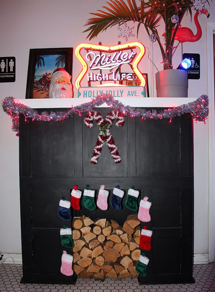decorated fireplace at Golden girl