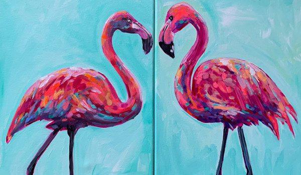 Painting of Flamingos