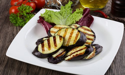 Grilled Eggplant with Red Onion
