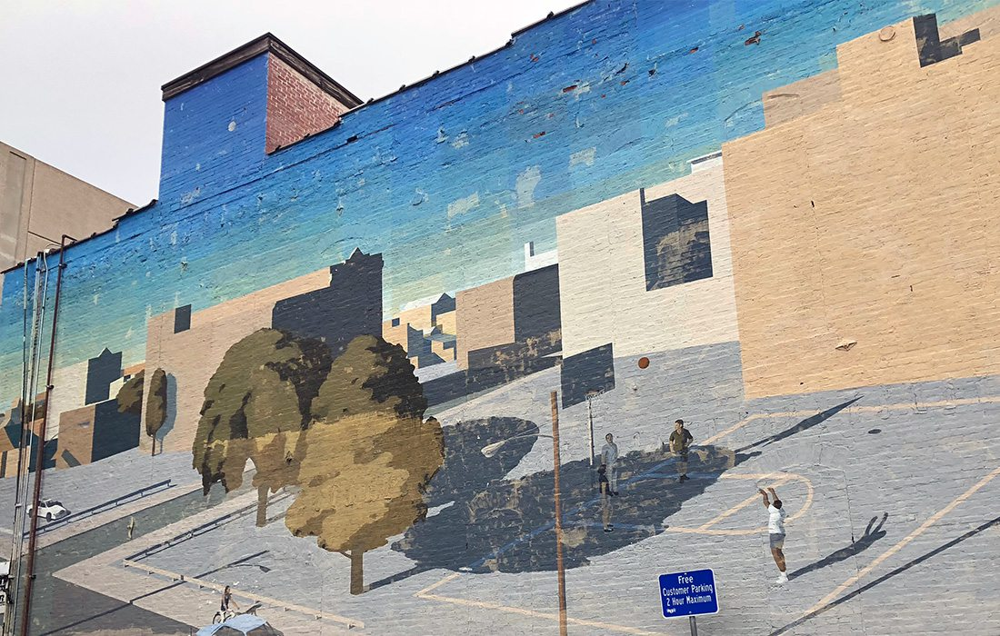 large mural in Springfield MO on the side of Harbell's downtown