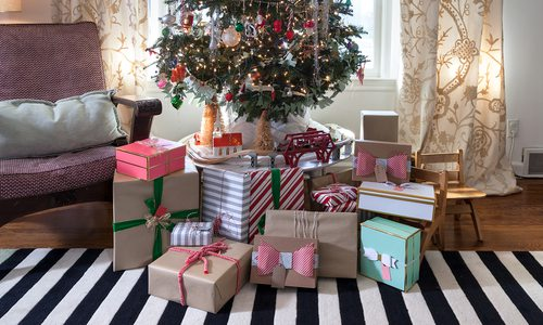 Cute presents under Christmas tree