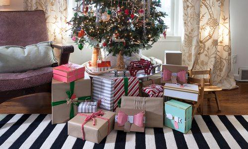 Cute presents under Christmas tree