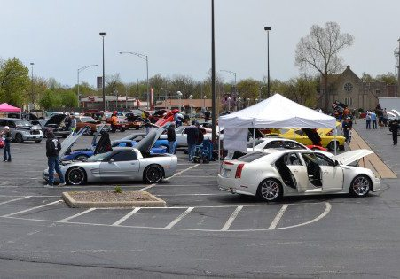 parked cars at a car show