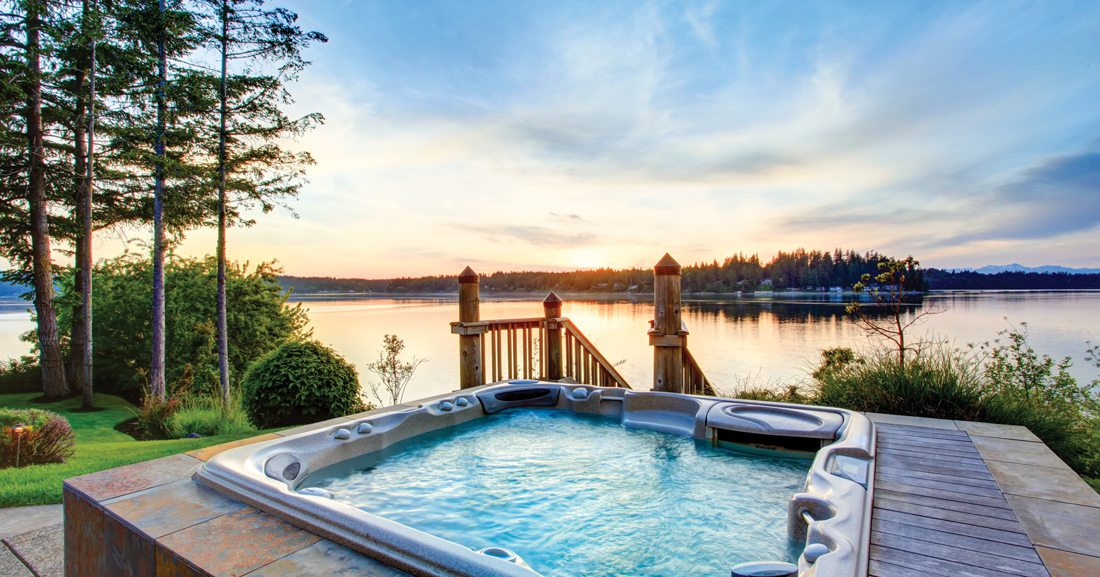 Hot tub overlooking lake