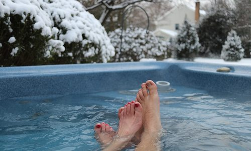Outdoor Hot tub during Winter