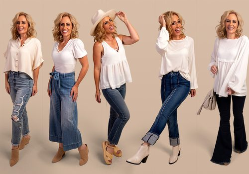 Different styles of blue jeans