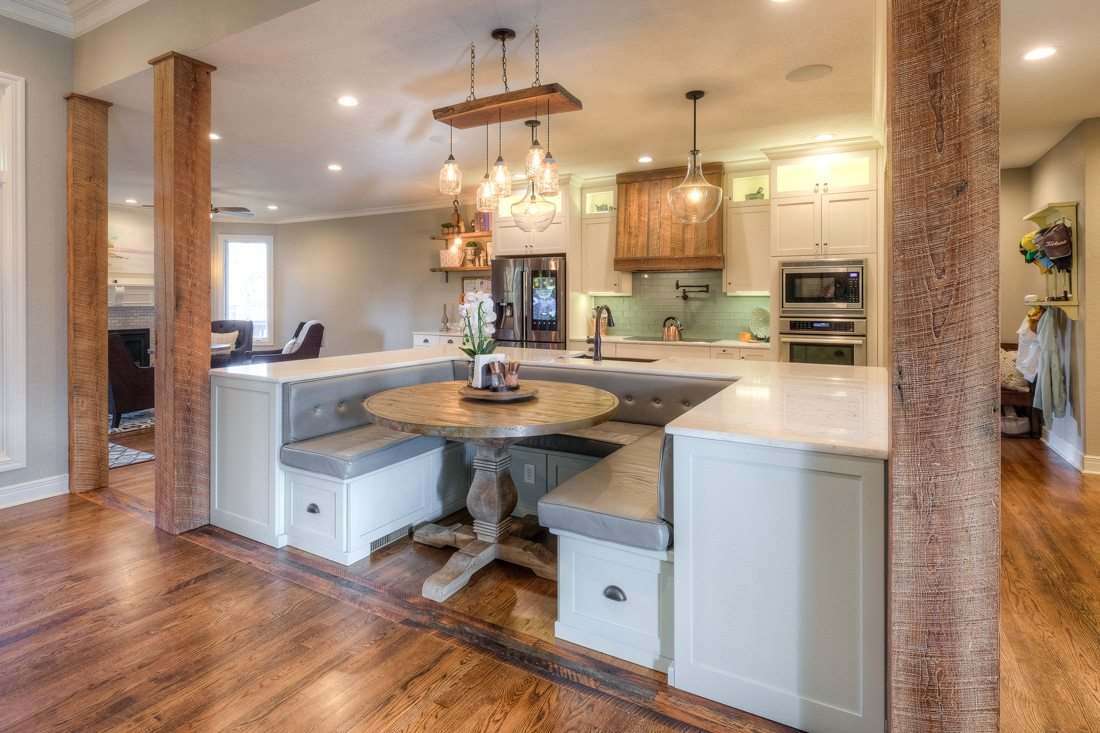 Kitchen island with bench seating.