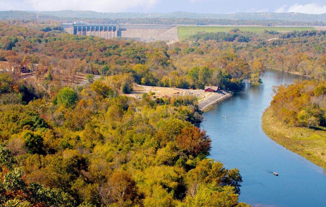Lake Taneycomo areal photo