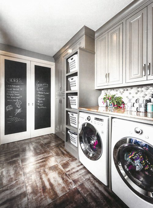 Laundry room with chalkboard and shelves for baskets.