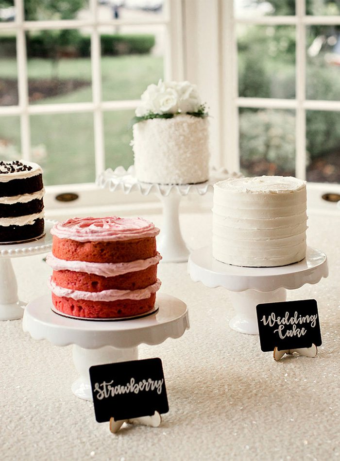 different cake flavors at a wedding
