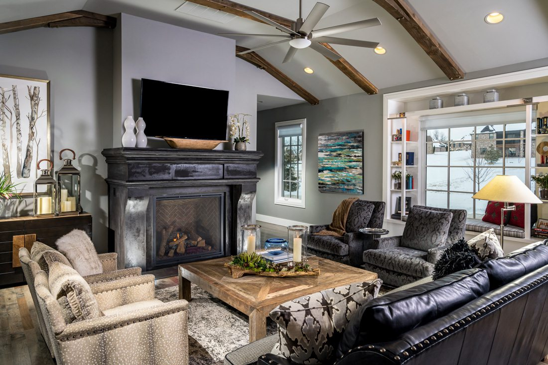 Cozy living room with fireplace and tons of seating.