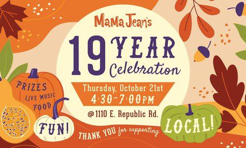 MaMa Jean's 19 Year Celebration logo banner