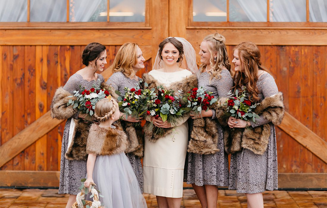 bride and bridesmaids in vintage outfits
