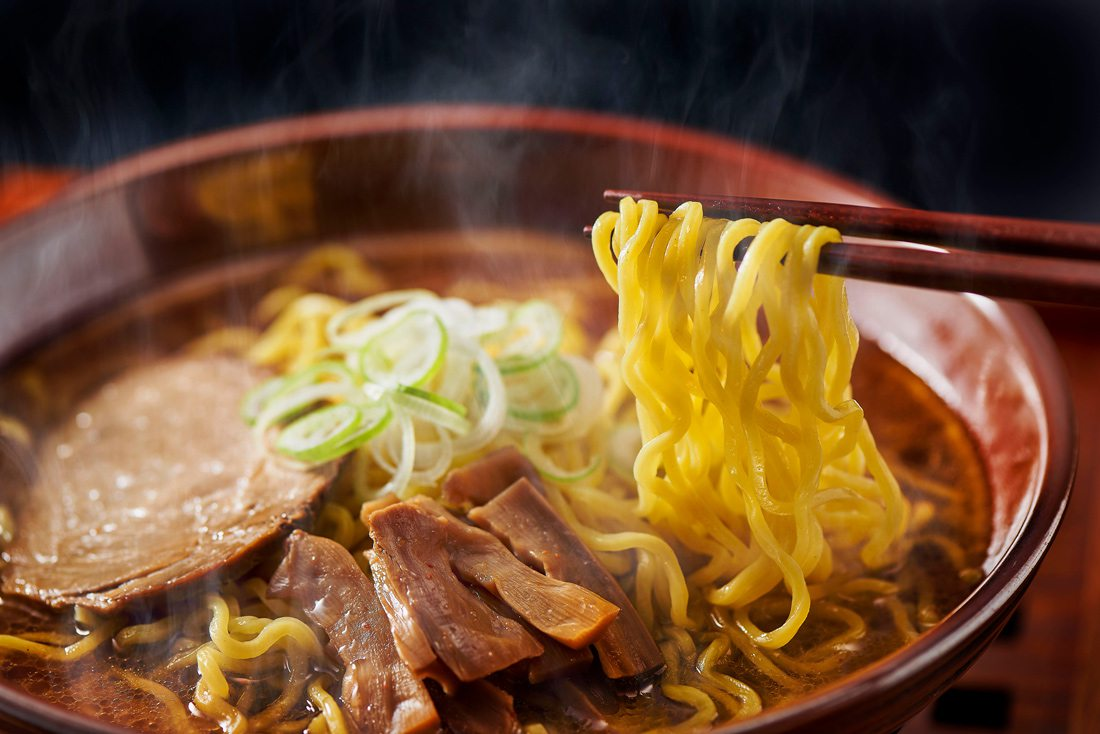 Hot ramen with noodles and meat