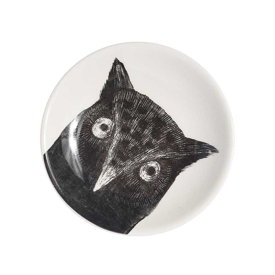 ceramic plate with owl painted on it