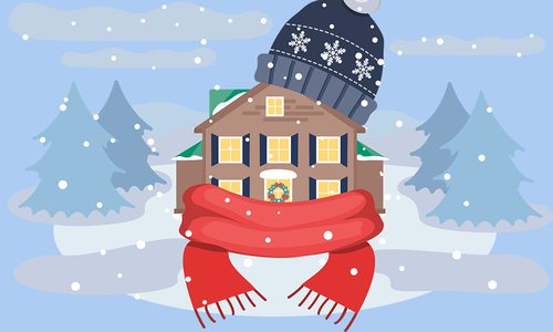 a house with scarf and hat illustration