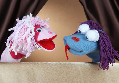 Improvised puppet show in Springfield, MO