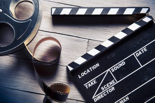 Film roll and movie clapper