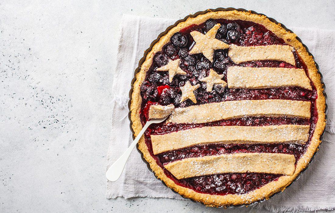 American flag design pie crust