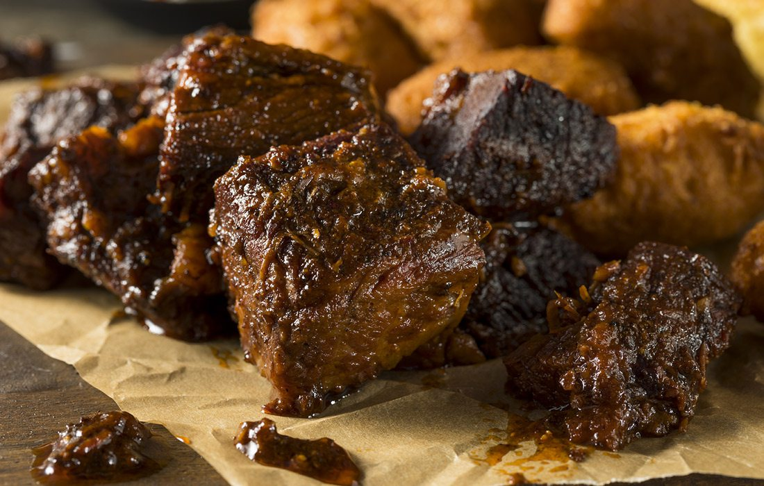 Burnt ends stock image