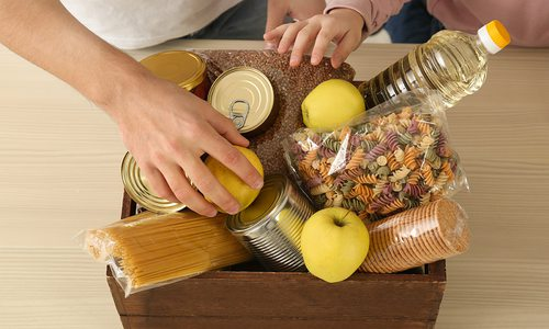 Care package filled with food stock image