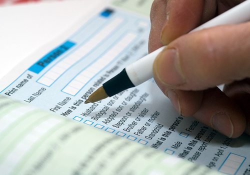 Stock image of census paperwork.