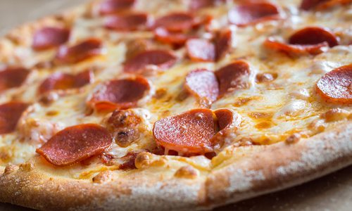 Fresh pepperoni pizza stock image