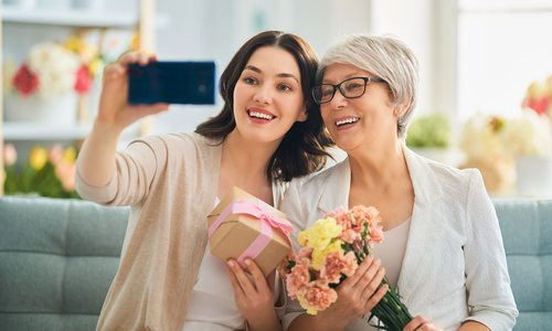 Mother's Day selfie stock photo