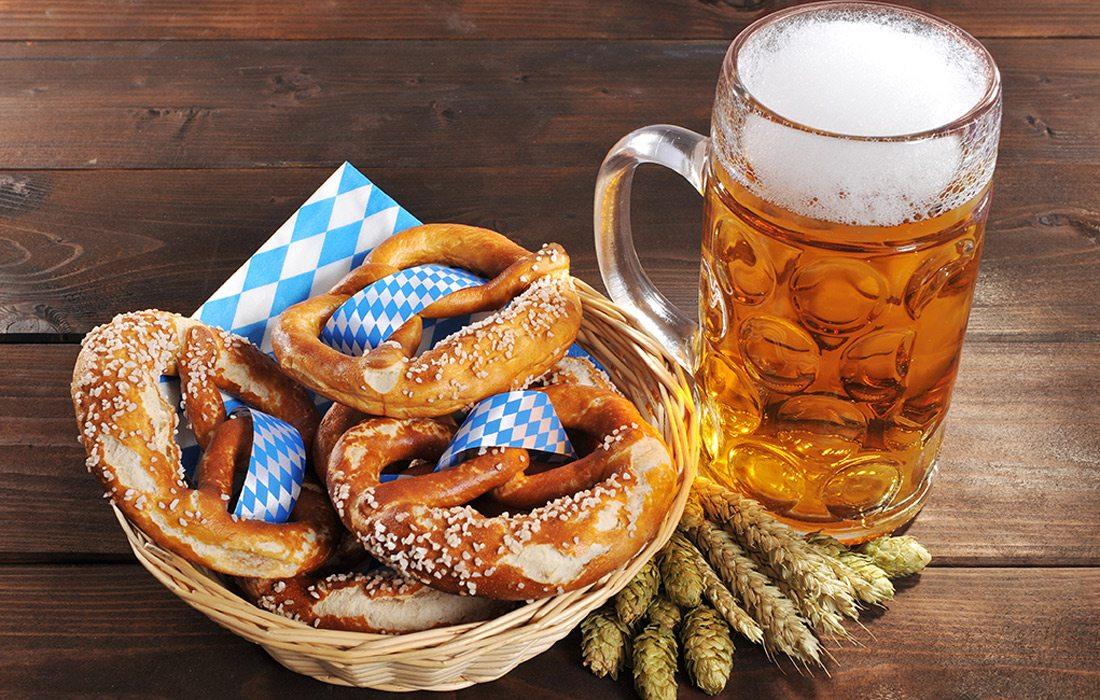 Oktoberfest offerings of beer and pretzels