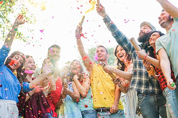 Outdoor birthday party stock image