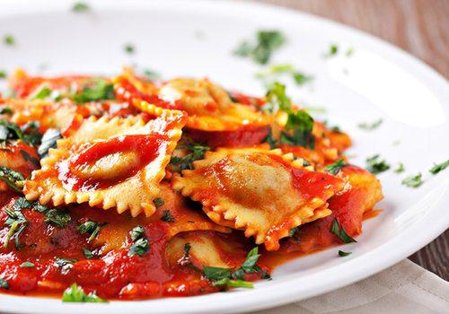 Ravioli dish stock image