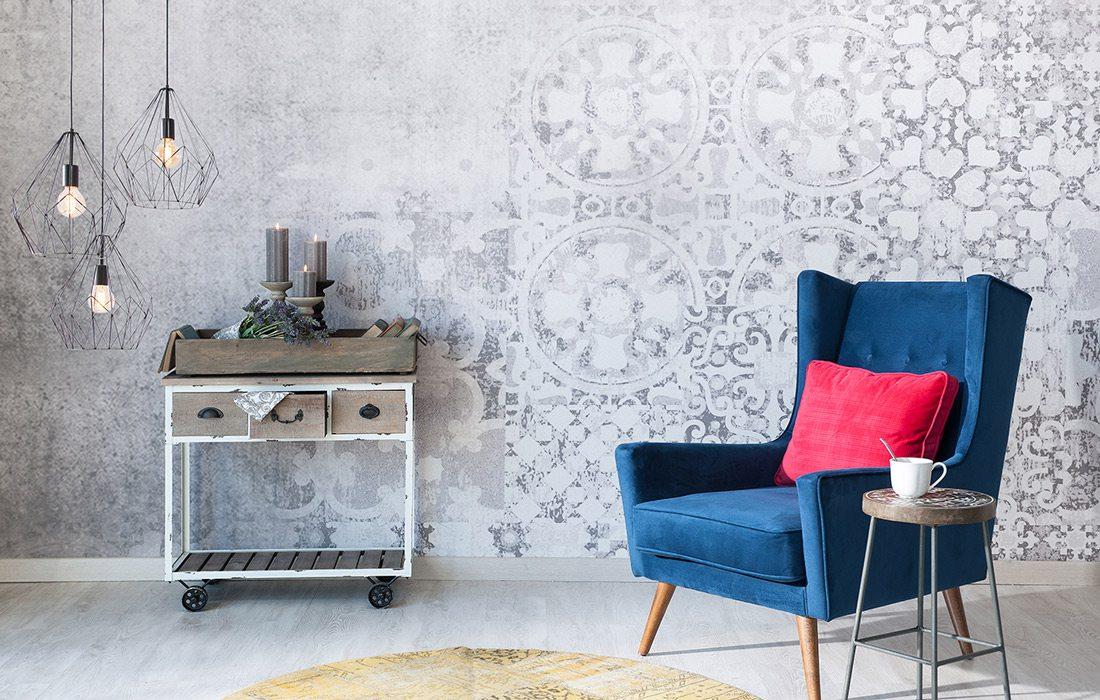 Textured wallpaper header stock image.