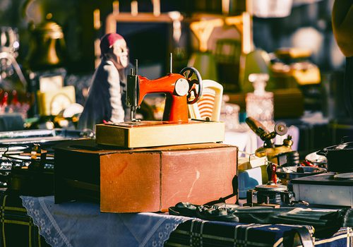 Vintage market items stock image