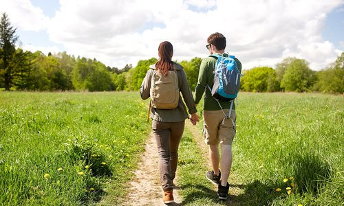 Walking on an outdoor trail stock image
