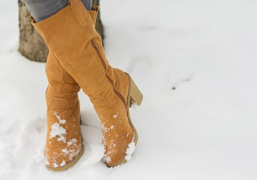 Winter boots in the snow