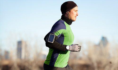 man running in the winter