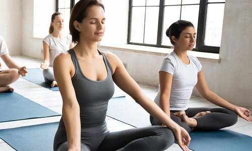 Yoga studio stock photo