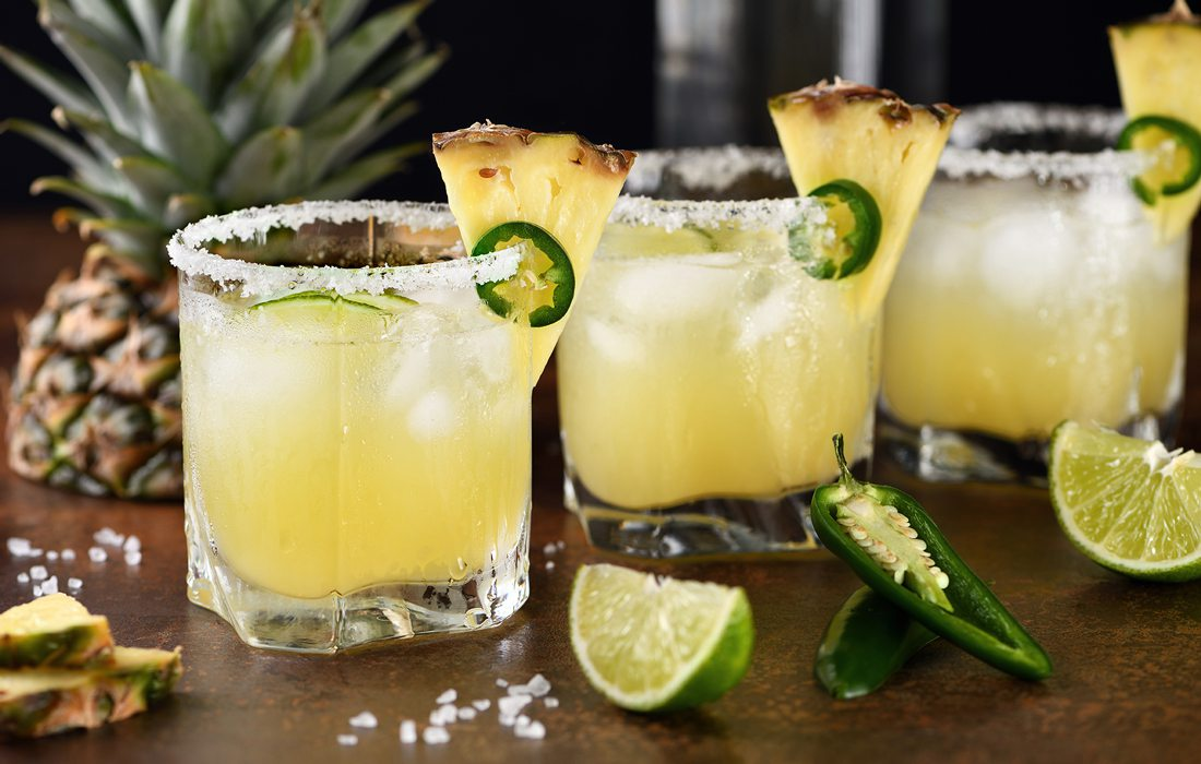 Pineapple and jalapeno margarita stock image