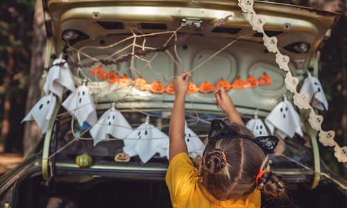 Trunk or Treat stock photo