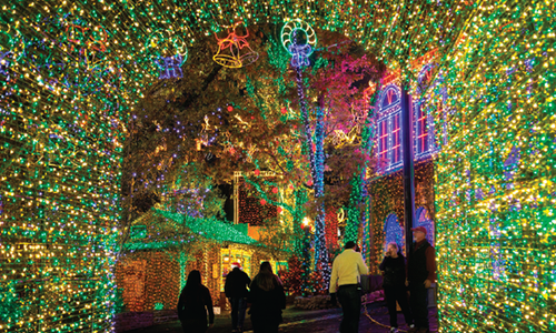 families walk through Christmas light tunnel