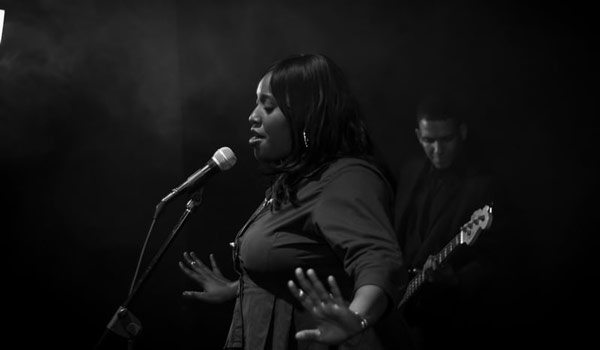 Singer in Black and White