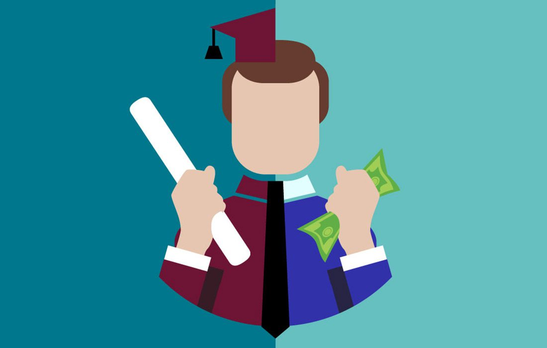 student with cap and gown and money illustration