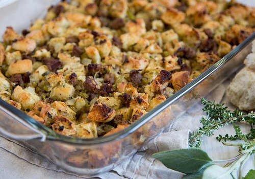 Thanksgiving stuffing made with local southwest Missouri ingredients