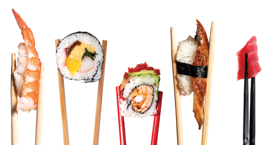 Variety of bright sushi and chopsticks