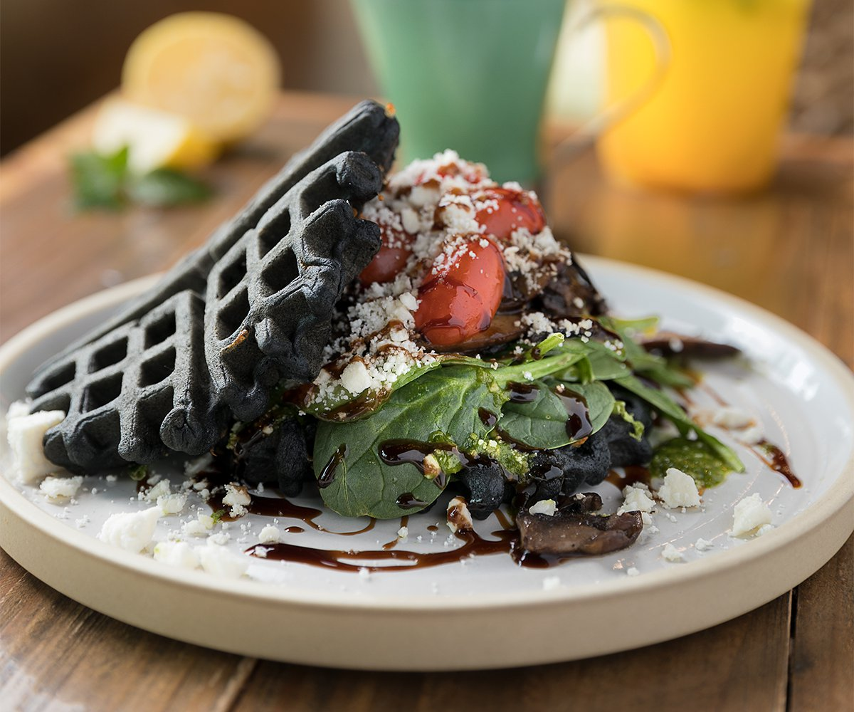 The Press Coffee & Juice Bar charcoal waffles
