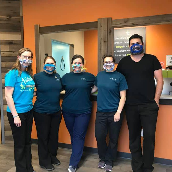 TheraCare in Springfield MO wears clear panel face masks