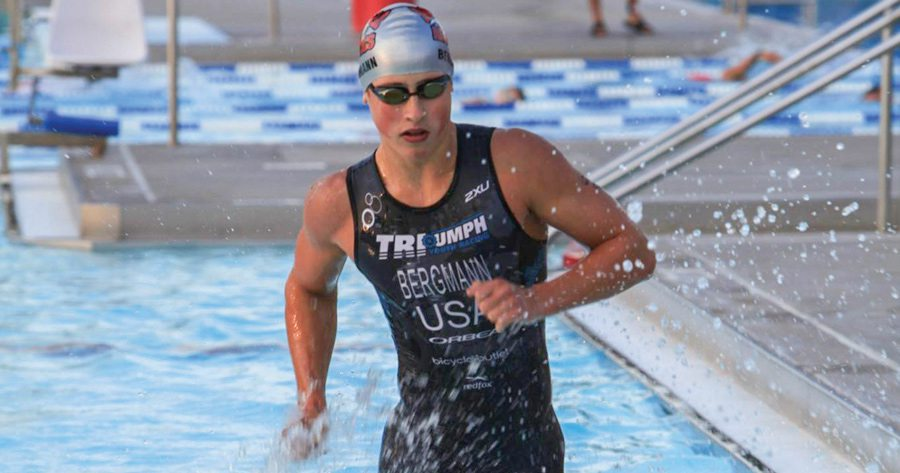 Triathlon athlete in swimming pool